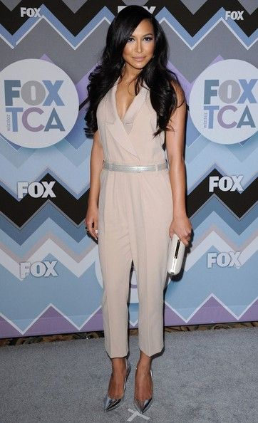 Naya brought the high-fashion heat in this nude jumpsuit at the Fox All-Star Party. Brand: Alice by Temperley