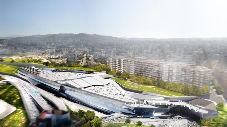 Architecture firm Morphosis has designed an innovative plan to transform a train station in the city of Vigo, Spain into a cosmopolitan cultural hub. Located on the western coast of the country, the modern Vialia Vigo TGV station will feature a rooftop public plaza and day-lit public atrium below it. The fluid structure morphs from plaza to train station in a continuous flow, creating a hub that harmonizes with the Spanish landscape.