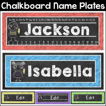 These fun chalkboard theme nameplates will look fantastic on students desks! This product is an editable PowerPoint file. You must have PowerPoint software in order to use these nameplates.The nameplates are 4 by 11 and this product includes two nameplate formats.