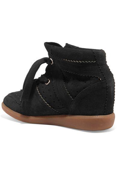 Isabel Marant - étoile Bobby Suede Wedge Sneakers - Black - FR38