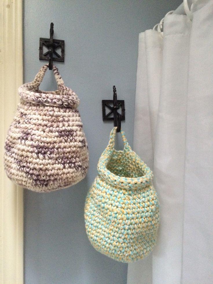 Crochet Hanging Storage basket, Cotton crochet basket, small toy basket, Hanging basket by ACozyPlace on Etsy https://www.etsy.com/listing/263035985/crochet-hanging-storage-basket-cotton