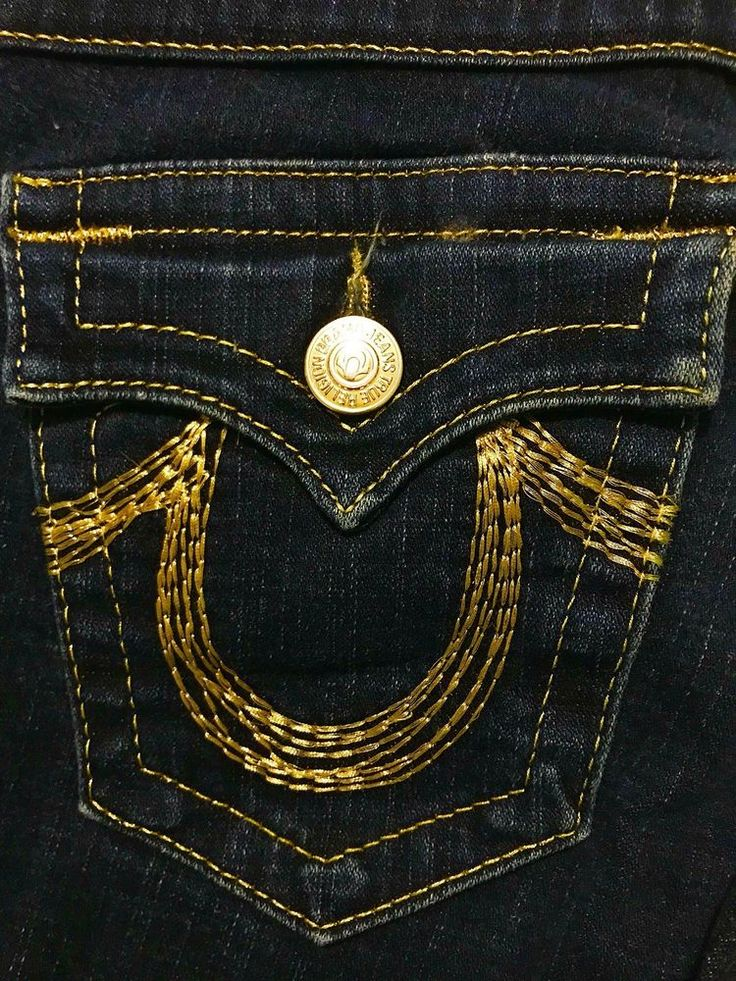 TRUE RELIGION Woman's Gold Stitched Bell Bottom Jeans Size 27  | eBay