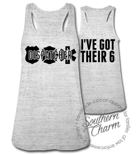 Southern Charm Designs - I've Got Their 6 - Dispatcher Silhouette Top, $29.00 (http://www.shopsoutherncharmdesigns.com/ive-got-their-6-dispatcher-silhouette-top/)