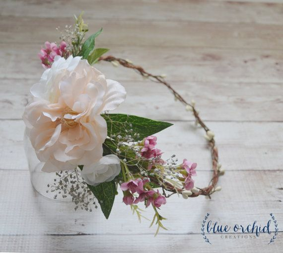 This silk flower crown is a twist on our half flower crown. Perfect wedding hair accessory to add a little bit of boho to your big day! The