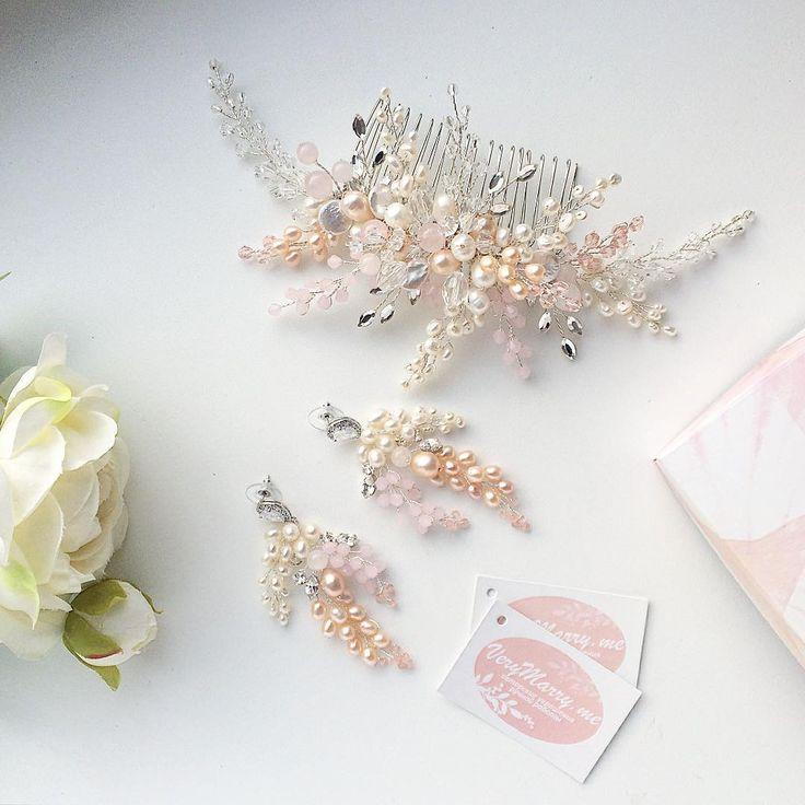 Свадебный комплект выполнен на заказ 👌😊 несколько нитей натурального жемчуга молочного и персикового оттенка, кристаллы Swarovski, розовый кварц, хрустальные бусины, посеребренная ювелирная проволока. Швензы с фианитами, родиевое покрытие. 💎 Украшения на заказ по вашим пожеланиям 💰 подобный комплект 5500-6000 руб  🏃 курьер по Мск 250 руб, самовывоз м Водный стадион 📪 отправление почтой по всему миру  📲 whatsapp/viber 89652961667 #verymarryme_forwedding