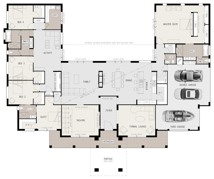 Floor plan friday u shaped 5 bedroom family home pinterest computer nook big houses and car garage