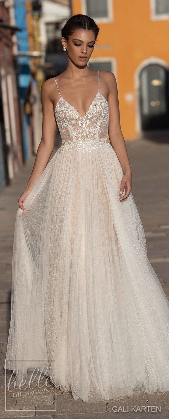 Beautiful mermaid lace boho tulle wedding dress, sexy backless wedding dress