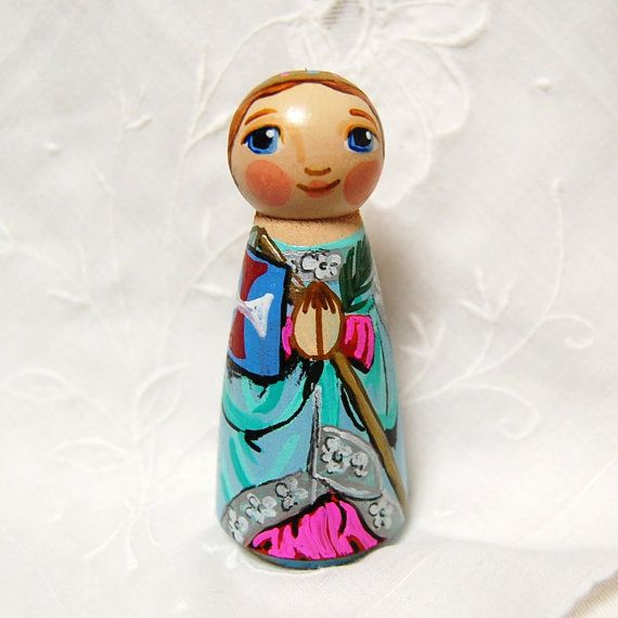 St Odilia Catholic Saint Doll  Wooden Toy  Made by SaintAnneStudio, $48.00