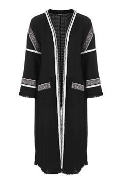 Embroidered Duster Coat