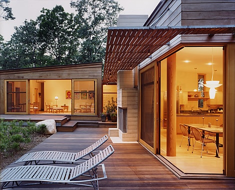 Huge sliding doors allow kitchen to open out onto deck for Sliding glass doors onto deck