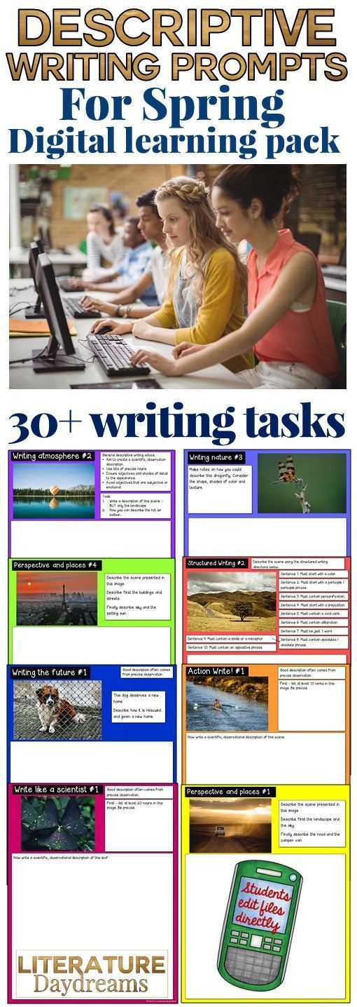 This is great collection of unusual descriptive writing prompts perfect for Spring writing. Use with Google Drive or OneNote to get your students writing digitally in the classroom! These creative writing tasks, worksheets and activities are designed to inspire, challenge and enjoy! No prep needed, 30+ pages of descriptive writing activities. Over 5 weeks or 30 hours worth of descriptive writing at your fingertips!