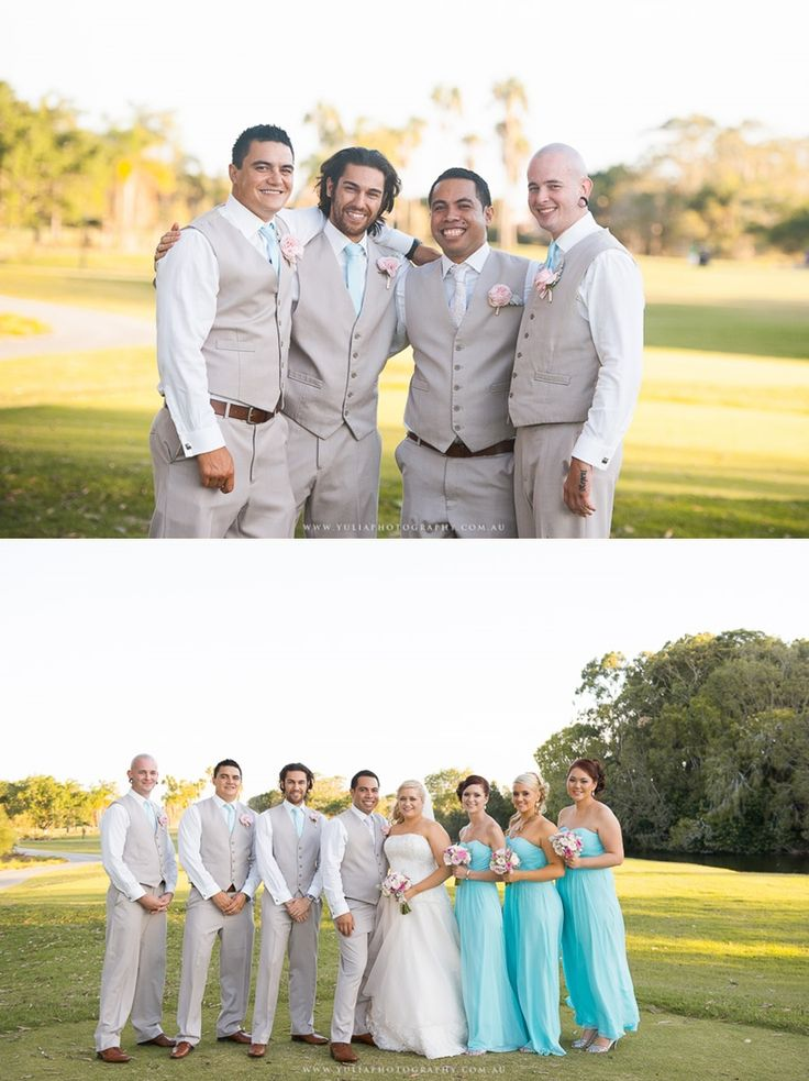 Turquoise and grey bridal party colour theme. ~Sydney wedding photography by Yulia Photography~ www.yuliaphotography.com.au