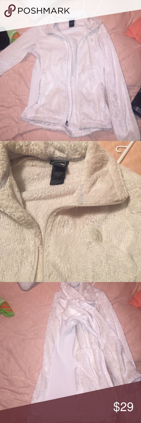 north face white fuzzy jacket! Worn some! White north face jacket no stains! Worn some but still good condition! In between white/cream North Face Jackets & Coats