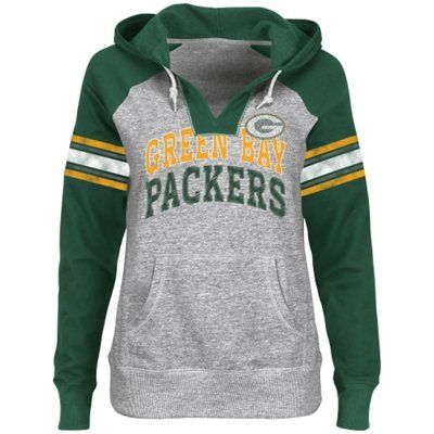 I WANT I WANT I WANT Green Bay Packers Ladies Huddle V-Neck Hoodie - Steel/Green