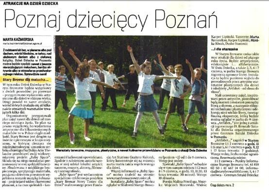 """2013.05.28 Gazeta Wyborcza Poznań: """"Poznań dziecięcy Poznań"""""""