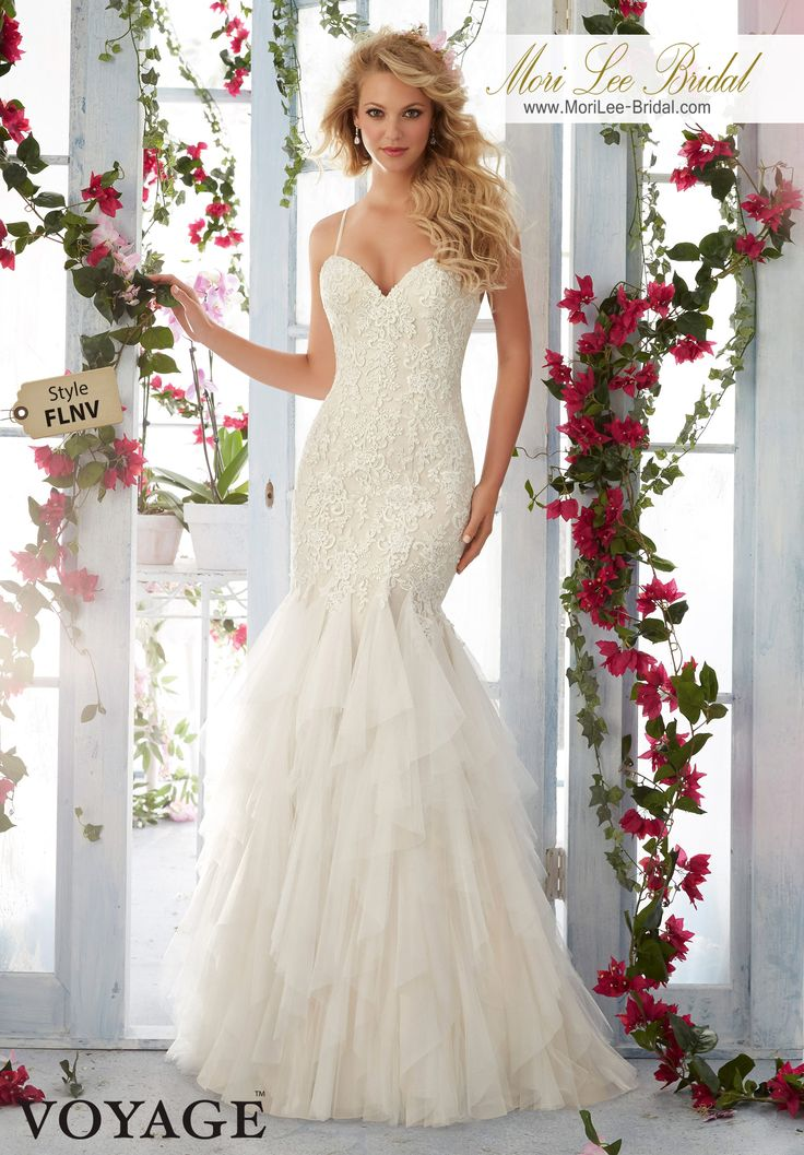 Dress Style FLNV Embroidered Lace Appliques On Soft Net, Flounced Gown With Shoestring Straps  Colors available: White, Ivory, Light Gold.