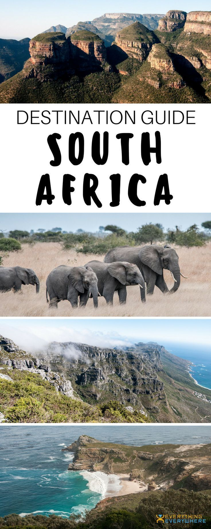 A complete guide to travel in South Africa. Top destinations and things to do including Kruger National Park, Table Mountain, Robben Island and more + Best South African food and cuisine and practical tips for your trip. | Everything Everywhere Travel Blo