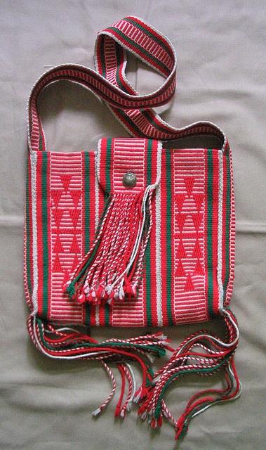 Bag made from Navajo woven sash.