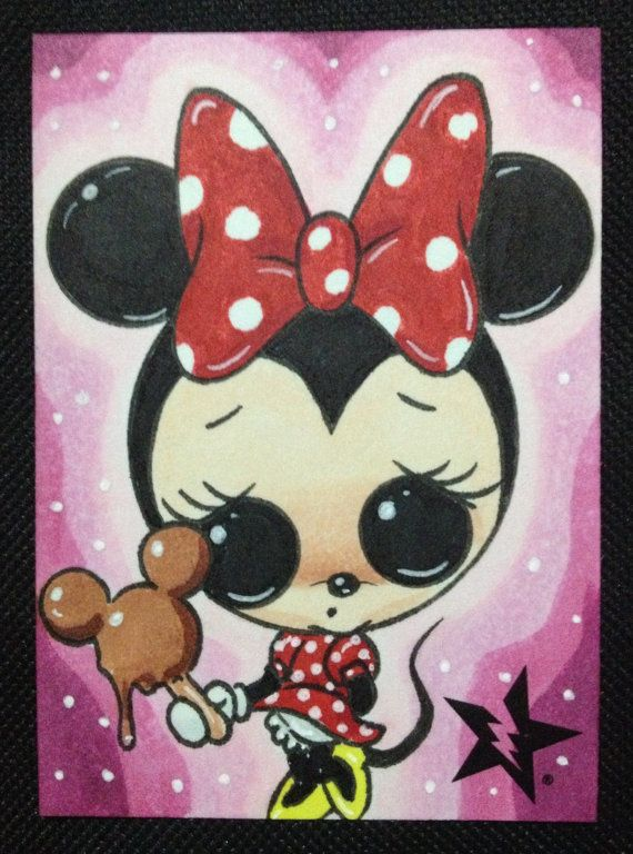 Sugar Fueled Minnie Mouse Mickey Premium Bar Ice Cream lowbrow pop surrealism creepy cute big eye ACEO mini print on Etsy, $4.00