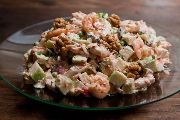 Salada de kani e camarão!