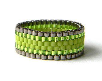 Skinny ring Minimalist peyote ring Dark purple by HappyBeadwork