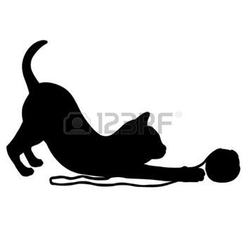 silhouette: Kitten playing with a ball of wool.