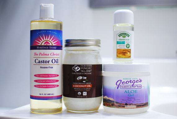 Hair Mask recipe to repair and strengthen hair; includes: castor oil, coconut oil, aloe gel, and vitamin e oil.