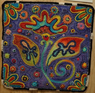 Fish Eye Rugs  Hooked by Suzi Prather  Designed by Primitive Grace