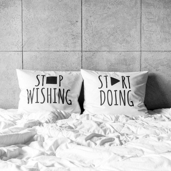poszewki na poduszki - stop wishing / start doing w White Place na DaWanda.com