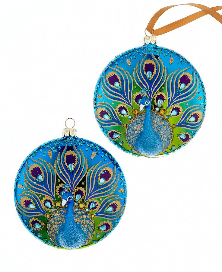 """Holiday Lane Set of 2 Peacock Disk Ornaments - Holiday Lane - Macy's An elegant addition to your ornament collection, this hand-painted pair by Holiday Lane will add a bold pop of color to your tree. Glass Imported Dimensions: 3.93"""""""