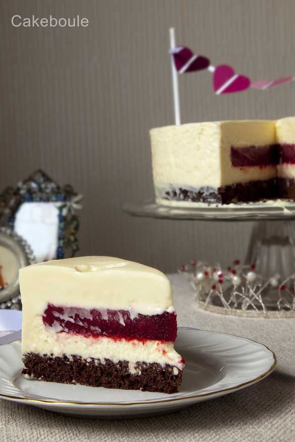 White Chocolate Mousse Cake with a raspberry filling