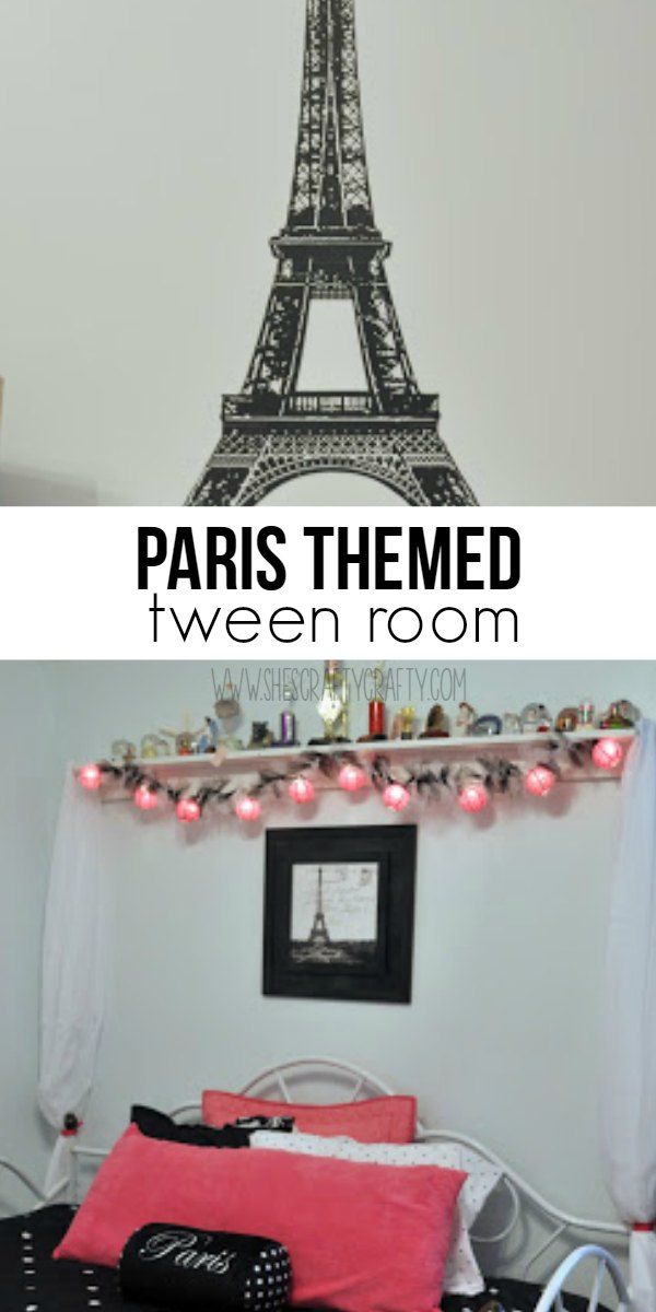 Paris themed tween bedroom. pink and black bedroom decorations, day bed, Behr Ultra Fresh Day paint