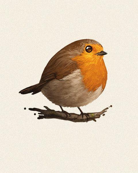 Fat bird - robin Giclée (Digital Print) by Mike M... | Trampt Library
