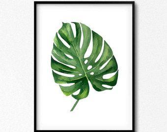 Print tropical, decoración de la hoja, hoja verde, decoración verde, arte al aire libre, al aire libre, Trópico, arte verde, Set acuarela, cartel de Monstera, hojas de arte.