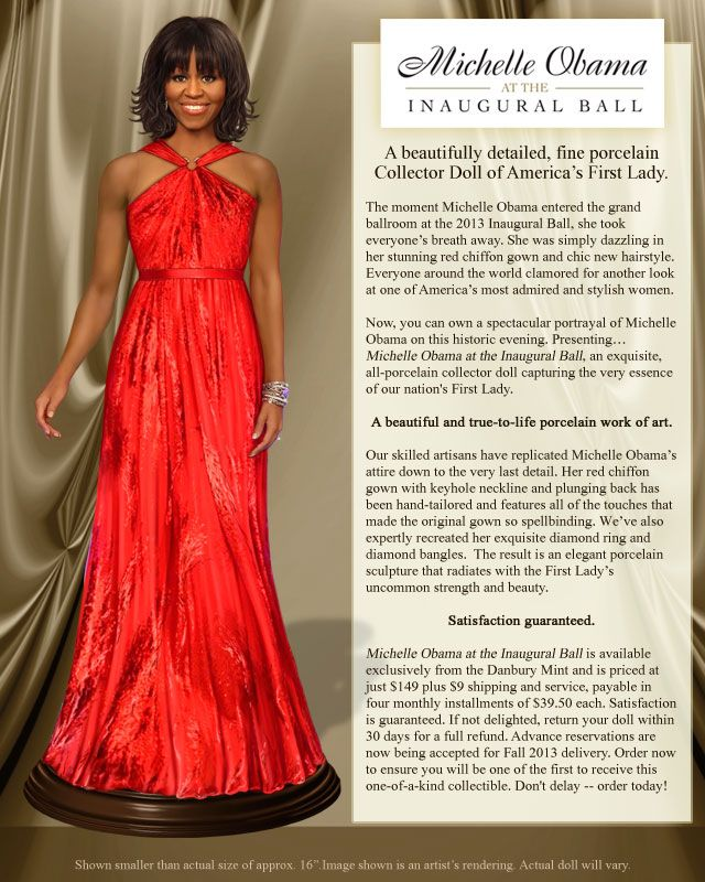 Michelle Obama at the Inaugural Ball Collector Doll - The Danbury Mint