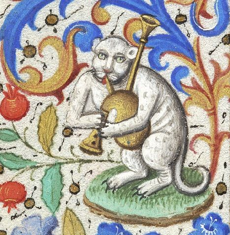 bagpipes cat book of hours, Paris ca. 1460. NY, Morgan Library  Museum, MS M.282, fol. 133v