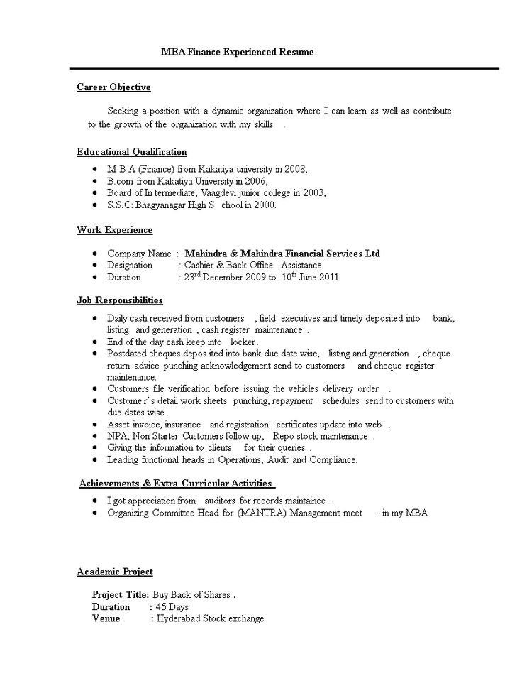 Resume Format For MBA Finance Experienced How to create