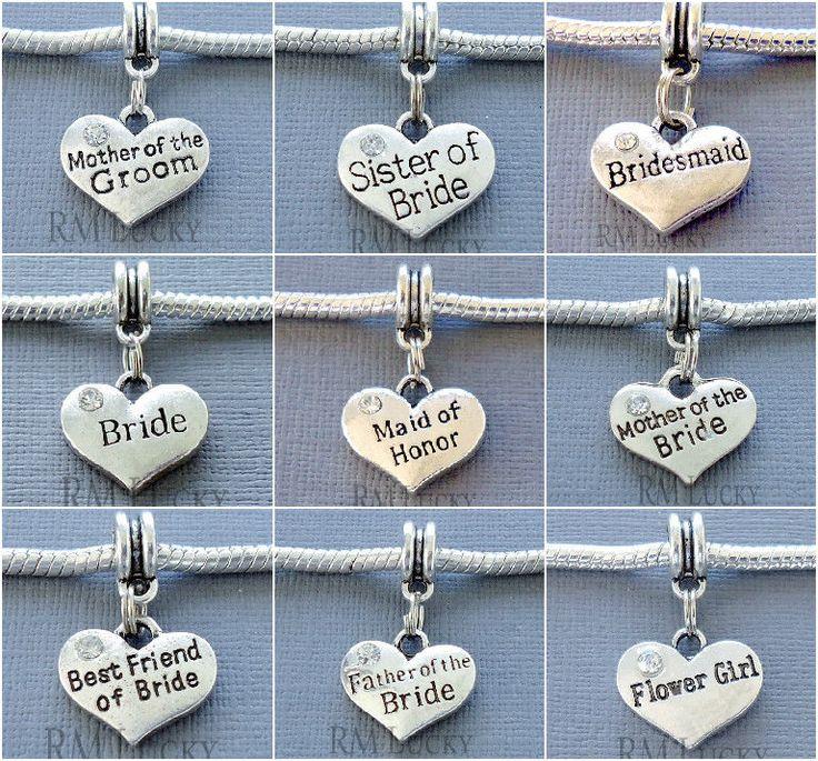 Dangle Pendant Heart Wedding Large hole bead. FITS European Charm Bracelet C121…