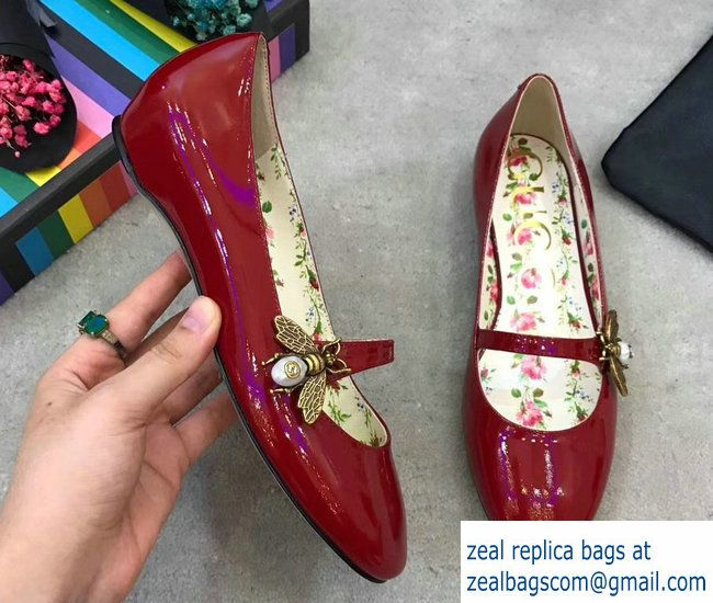 78e8b5496 Gucci Patent Leather Ballet Flats With Bee 475832 Red 2017 | Luxury ...