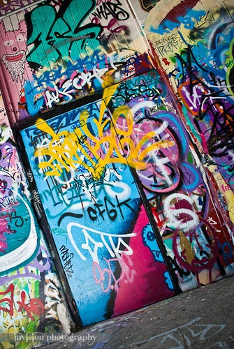 Graffiti, Te Aro, Wellington, New Zealand - My guess is Opera House Lane but someone else may have a better idea!