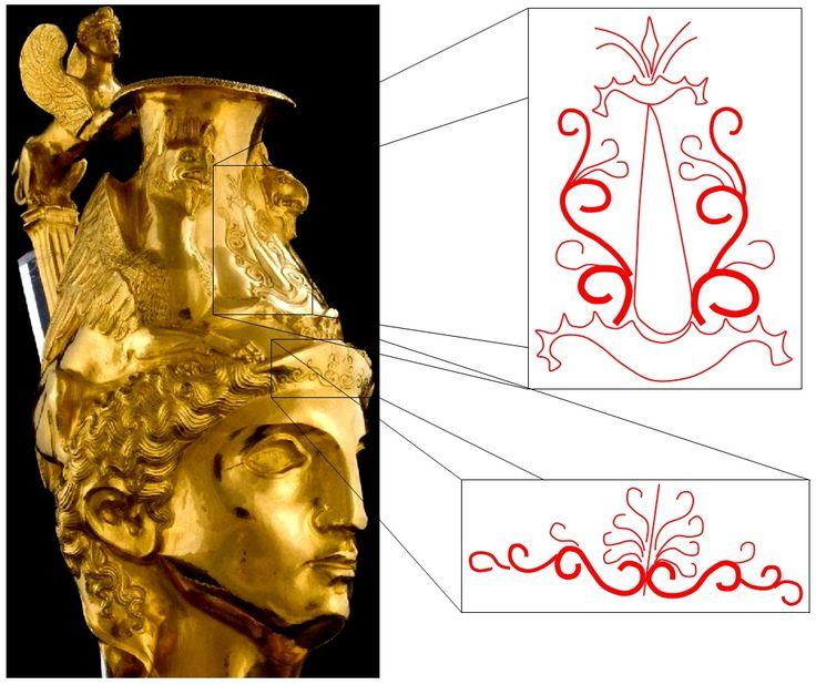 """Marea Zeiţă şi simbolismul de regenerare-fecunditate al Pomului Vieţii, precum şi coarde de viţă de vie - """"Planta Vieţii"""", păzite de o pereche de grifoni şi un sfinx, reprezentate pe un vas din aur care redă un coif tracic, parte a Comoarii tracice Panagyuriste, descoperită în Bulgaria şi datată în secolele IV-III î.e.n."""
