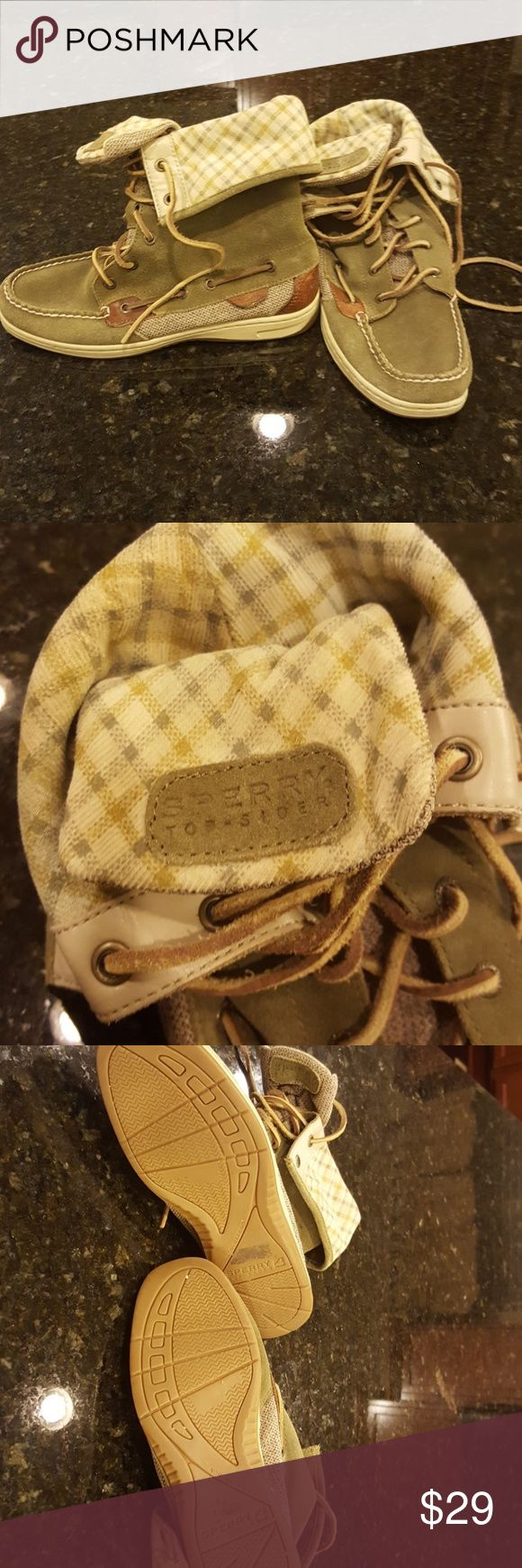 Sperry top sider size 7 Worn to the grocery store once, did not fit me☹ adorable high boat shoes that can be folded down. Olive leather, leather ties, and charcoal and gray pattern inside. Sperry Top-Sider Shoes