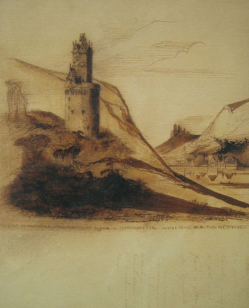 Victor Hugo - Sketch of castle ruins. Around 1840