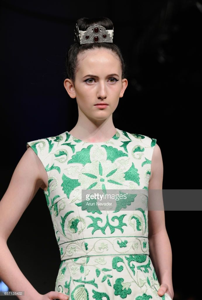 A model walks the runway wearing Aya Bapani at Vancouver Fashion Week Fall/Winter 2017 at Chinese Cultural Centre of Greater Vancouver on March 23, 2017 in Vancouver, Canada.