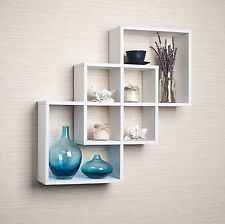 деревянная полка на стенку / полки пересекающихся-декоративные Ledge белый / Home Decor новый