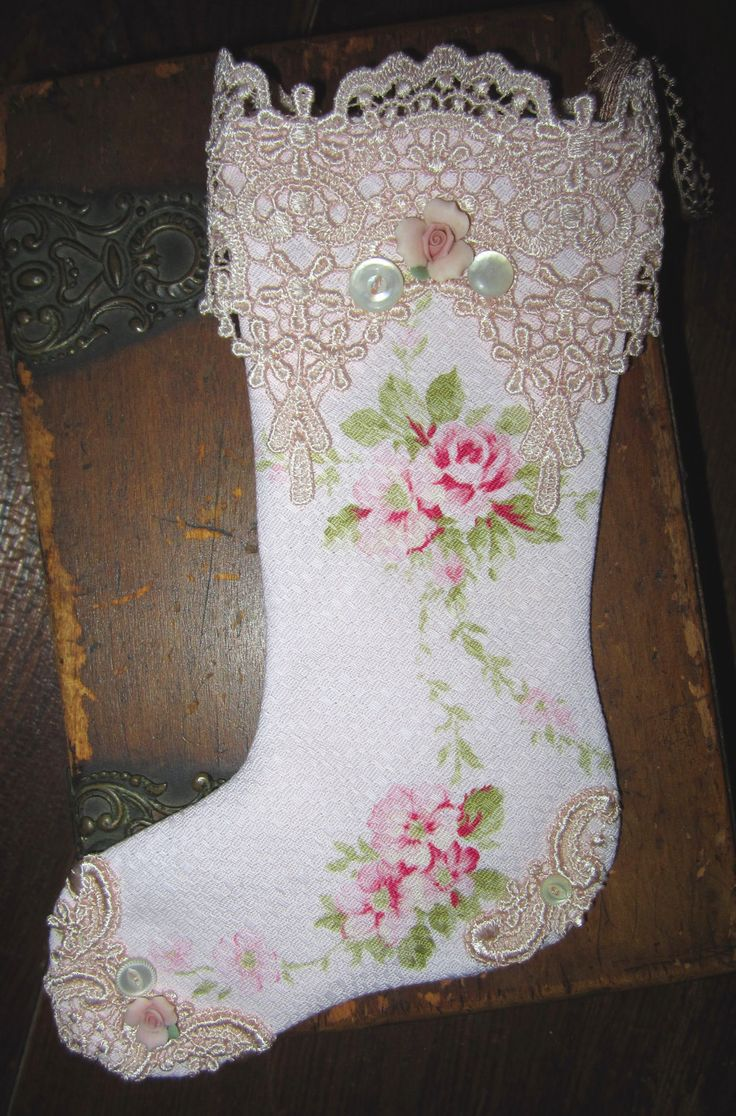 Sweet Shabby Pale Pink Barkcloth Roses Christmas Stocking                                  ***TRY THE OUTLINE OF THE STOCKING AS A VICTORIAN BOOT!!!***