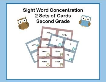 Here's a fun way for your second grade students to practice their sight words.  This game can be used as part of a center, in small groups for practice, or by one student. There are two sets of cards using the second grade sight words included on the Dolch Sight Word List.
