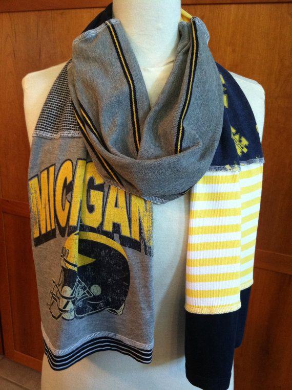 UPCYCLED tshirt scarf University of Michigan U of by verbositytees, $22.00