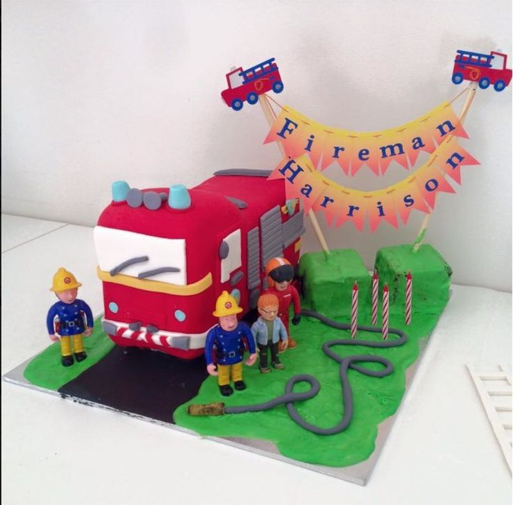 Any Name personalised Cake Bunting -Flags, Garland for Fireman Sam Party