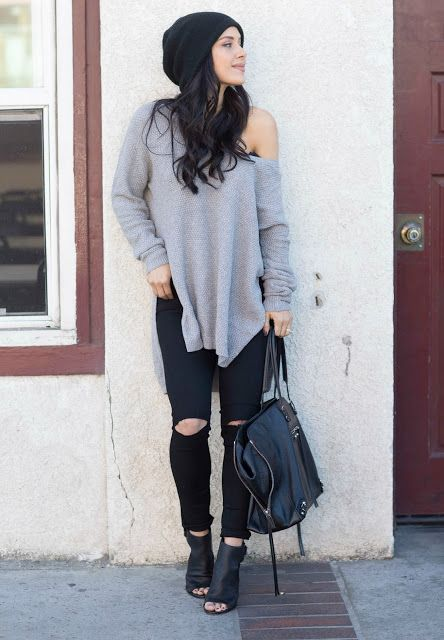 The HONEYBEE // Distressed Skinny + Oversized Beanie + Off The Shoulder Top
